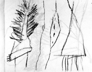 Cy Twombly, page from North African sketchbooks, 1953. Conté crayon, 22 x 28 cm.