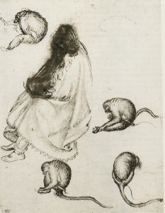 2-6 Pisanello, Seated Pilgrim and Four Monkeys. Pen and ink, traces of black chalk, 25.5 x 18.8 cm. Musée du Louvre, Paris.